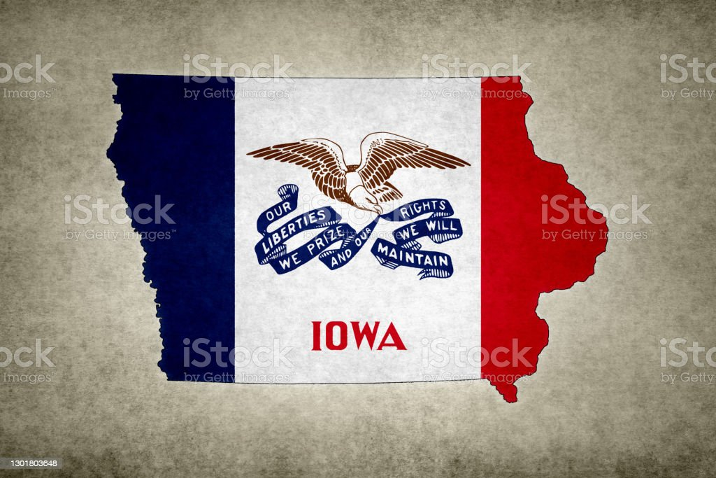 Grunge map of the state of Iowa with its flag printed within Grunge map of the state of Iowa (USA) with its flag printed within its border on an old paper. Abstract Stock Photo