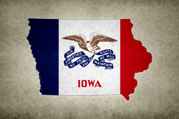 Grunge map of the state of Iowa with its flag printed within stock photo