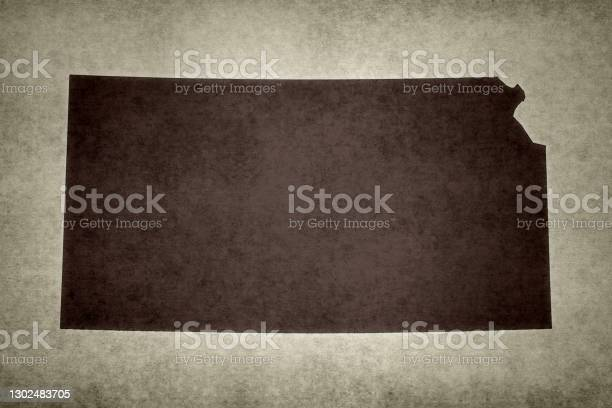 Grunge Map Of The State Of Kansas Stock Photo - Download Image Now