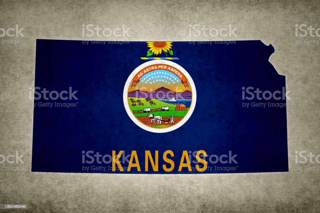 Grunge map of the state of Kansas with its flag printed within Grunge map of the state of Kansas (USA) with its flag printed within its border on an old paper. Abstract Stock Photo