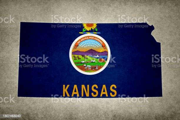 Grunge Map Of The State Of Kansas With Its Flag Printed Within Stock Photo - Download Image Now