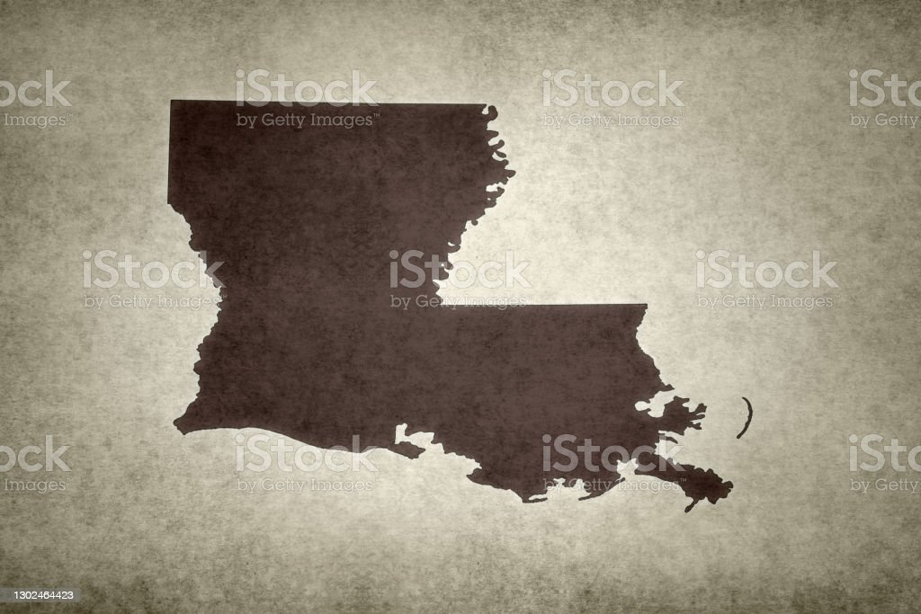 Grunge map of the state of Louisiana Grunge map of the state of Louisiana (USA) printed on an old paper. Abstract Stock Photo