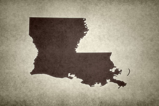 Grunge map of the state of Louisiana stock photo
