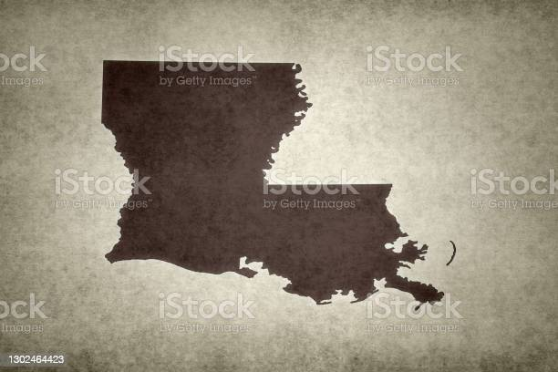 Grunge Map Of The State Of Louisiana Stock Photo - Download Image Now