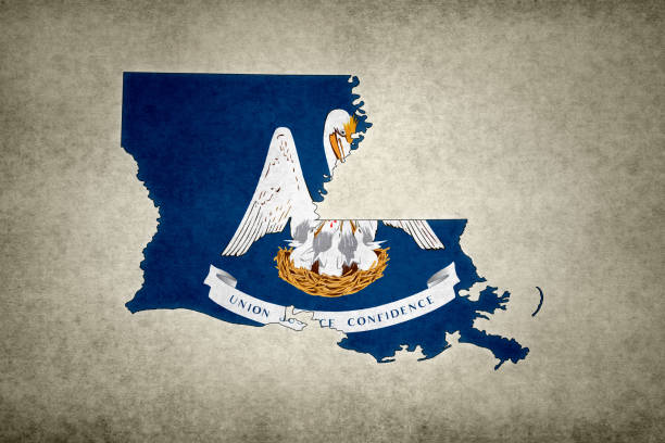 Grunge map of the state of Louisiana with its flag printed within stock photo