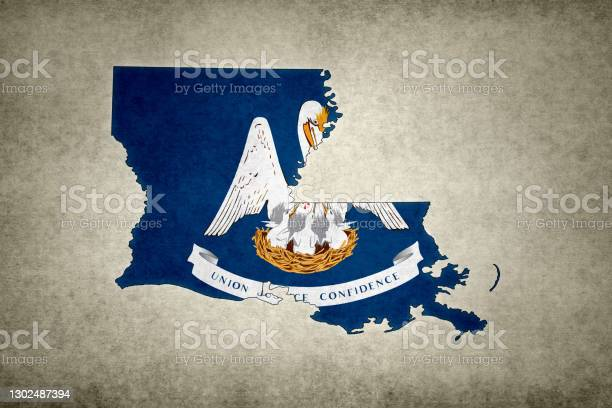 Grunge Map Of The State Of Louisiana With Its Flag Printed Within Stock Photo - Download Image Now