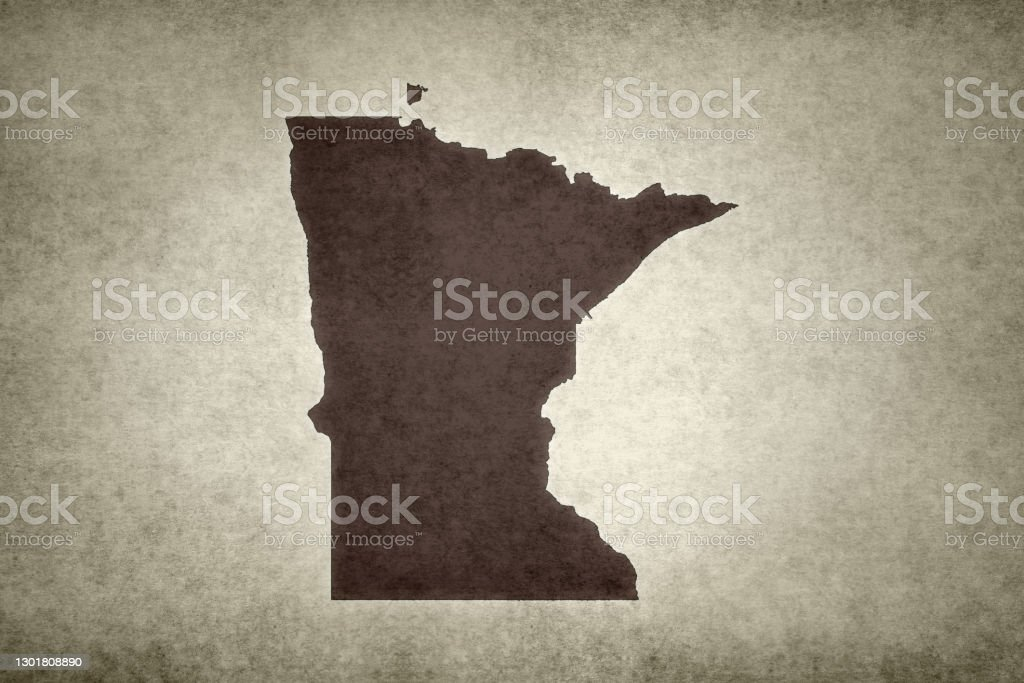 Grunge map of the state of Minnesota Grunge map of the state of Minnesota (USA) printed on an old paper. Abstract Stock Photo