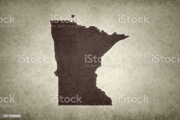 Grunge Map Of The State Of Minnesota Stock Photo - Download Image Now