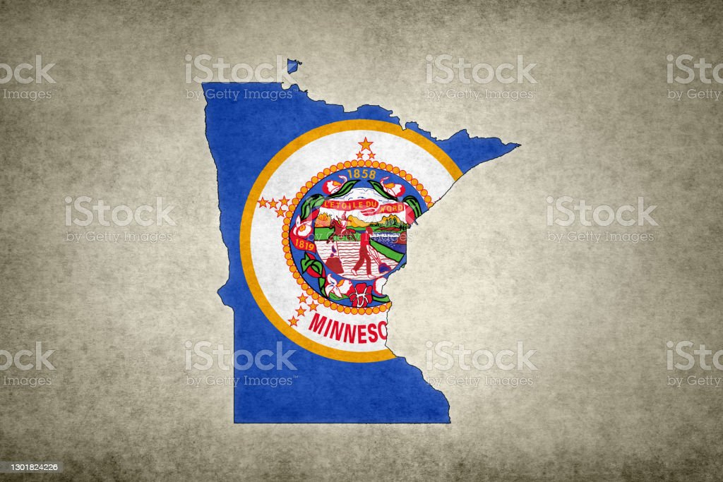 Grunge map of the state of Minnesota with its flag printed within Grunge map of the state of Minnesota (USA) with its flag printed within its border on an old paper. Abstract Stock Photo