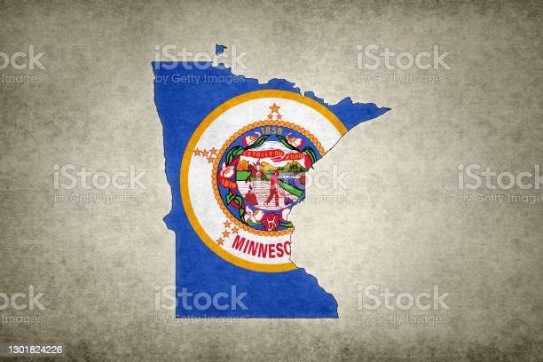 Grunge Map Of The State Of Minnesota With Its Flag Printed Within Stock Photo - Download Image Now