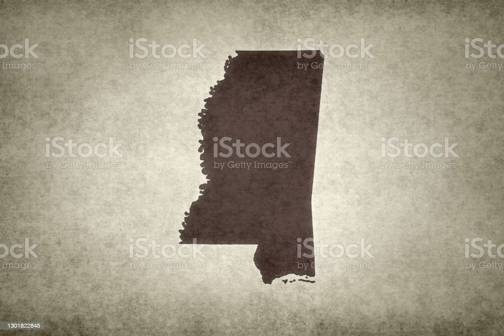 Grunge map of the state of Mississippi Grunge map of the state of Mississippi (USA) printed on an old paper. Abstract Stock Photo