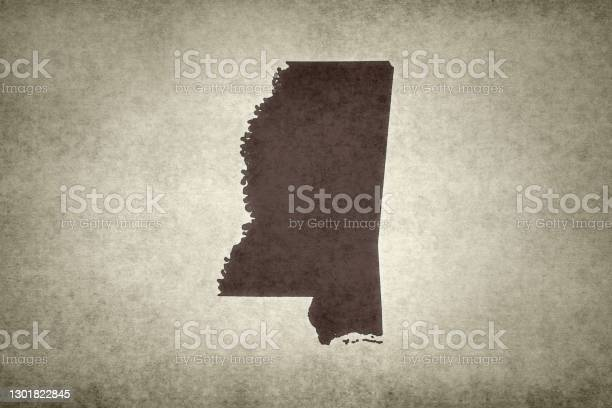 Grunge Map Of The State Of Mississippi Stock Photo - Download Image Now