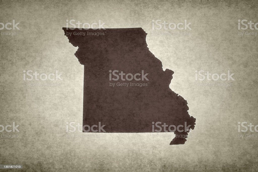 Grunge map of the state of Missouri Grunge map of the state of Missouri (USA) printed on an old paper. Abstract Stock Photo