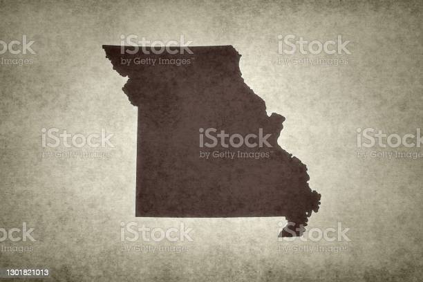 Grunge Map Of The State Of Missouri Stock Photo - Download Image Now