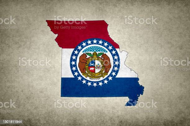 Grunge Map Of The State Of Missouri With Its Flag Printed Within Stock Photo - Download Image Now