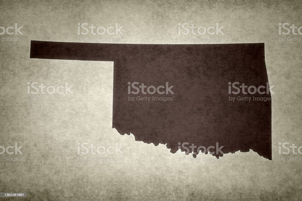 Grunge map of the state of Oklahoma Grunge map of the state of Oklahoma (USA) printed on an old paper. Abstract Stock Photo