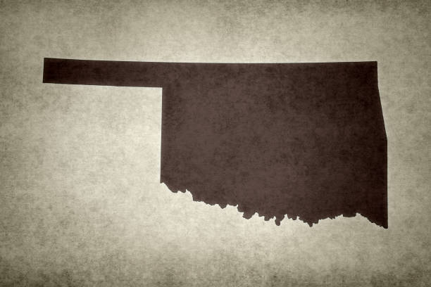 Grunge map of the state of Oklahoma stock photo