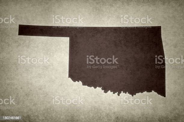 Grunge Map Of The State Of Oklahoma Stock Photo - Download Image Now