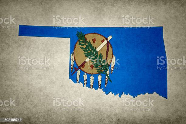 Grunge Map Of The State Of Oklahoma With Its Flag Printed Within Stock Photo - Download Image Now