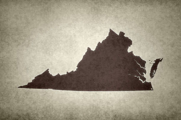 Grunge map of the state of Virginia stock photo