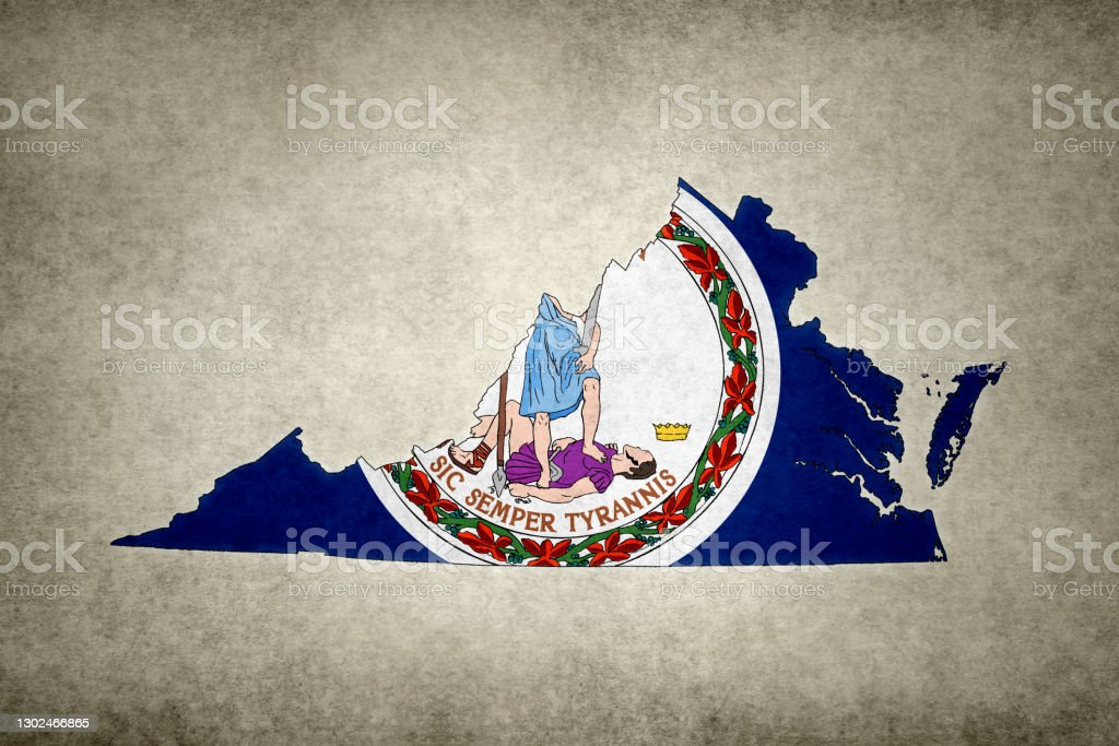 Grunge map of the state of Virginia with its flag printed within Grunge map of the state of Virginia (USA) with its flag printed within its border on an old paper. Abstract Stock Photo