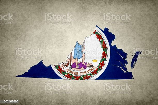 Grunge Map Of The State Of Virginia With Its Flag Printed Within Stock Photo - Download Image Now