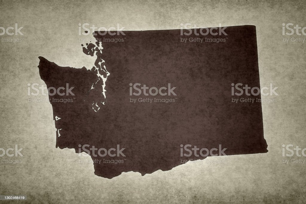 """Grunge map of the state of Washington Grunge map of the state of Washington (USA) printed on an old paper.""""n Abstract Stock Photo"""