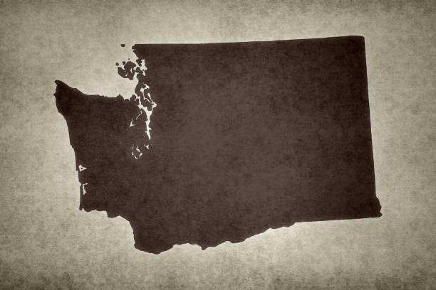 Grunge map of the state of Washington stock photo