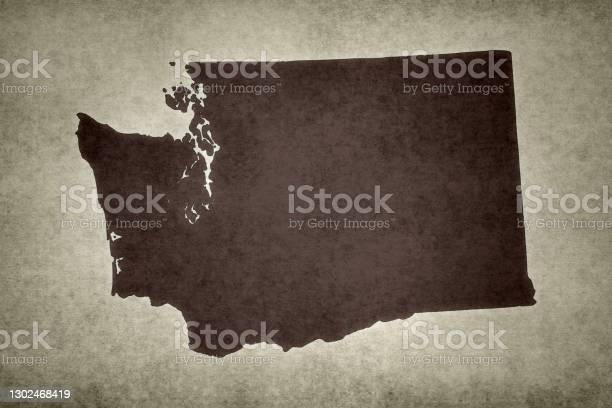 Grunge Map Of The State Of Washington Stock Photo - Download Image Now