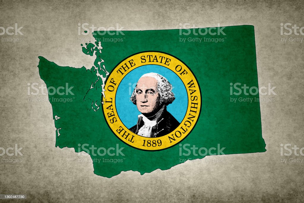 Grunge map of the state of Washington with its flag printed within Grunge map of the state of Washington (USA) with its flag printed within its border on an old paper. Abstract Stock Photo