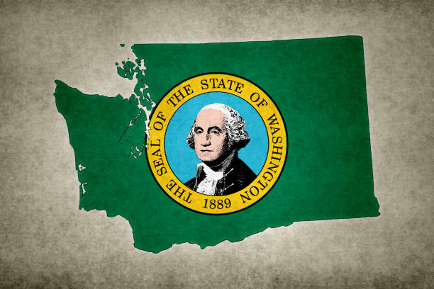 Grunge map of the state of Washington with its flag printed within stock photo