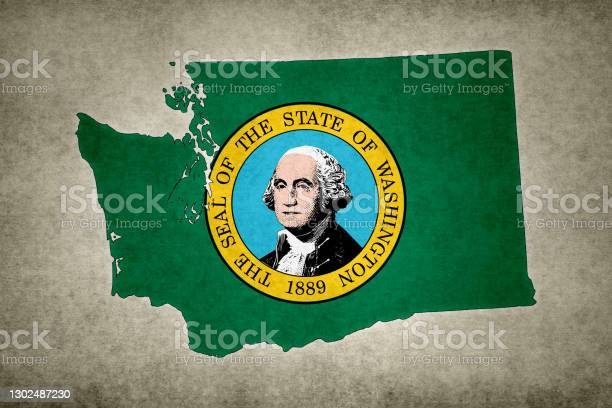 Grunge Map Of The State Of Washington With Its Flag Printed Within Stock Photo - Download Image Now