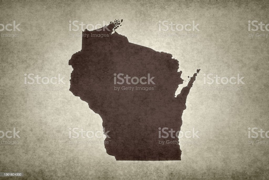 Grunge map of the state of Wisconsin Grunge map of the state of Wisconsin (USA) printed on an old paper. Abstract Stock Photo