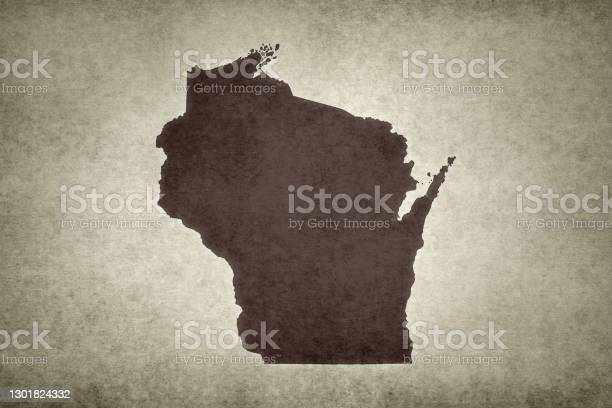 Grunge Map Of The State Of Wisconsin Stock Photo - Download Image Now