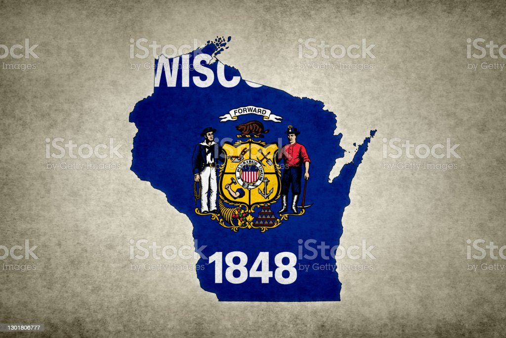 Grunge map of the state of Wisconsin with its flag printed within Grunge map of the state of Wisconsin (USA) with its flag printed within its border on an old paper. Abstract Stock Photo