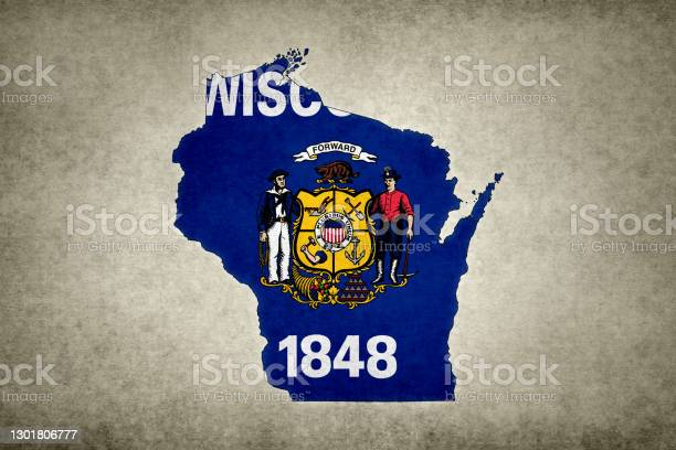 Grunge Map Of The State Of Wisconsin With Its Flag Printed Within Stock Photo - Download Image Now