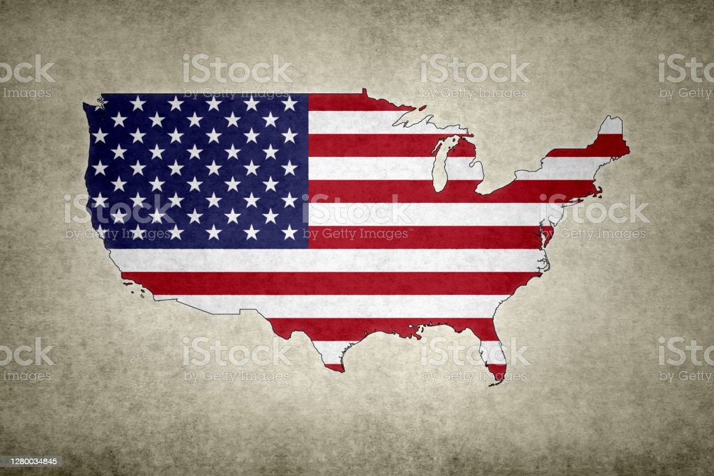 Grunge map of the USA with its flag printed within Grunge map of the USA (excluding Alaska) with its flag printed within its border on an old paper. Abstract Stock Photo