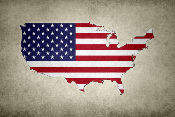 Grunge map of the USA with its flag printed within stock photo