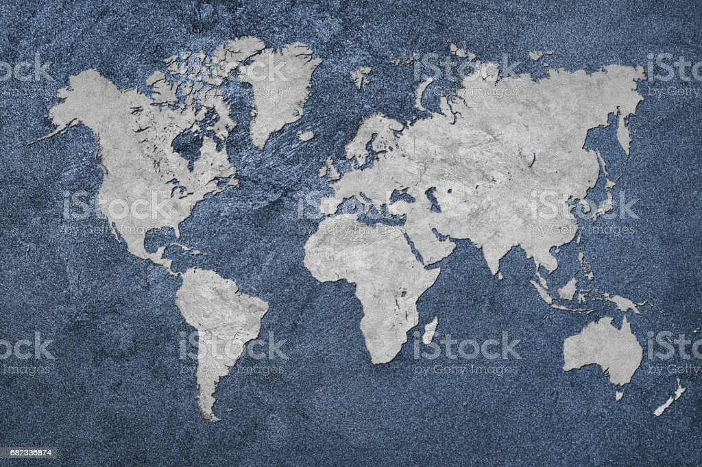Grunge Map of the World. Vintage style. stock photo