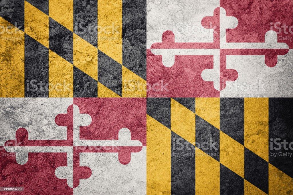 Grunge Maryland Staatsflagge. Maryland Flagge Grunge Hintergrundtextur. – Foto