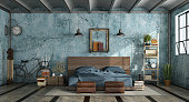 Grunge master bedroom in industrial style