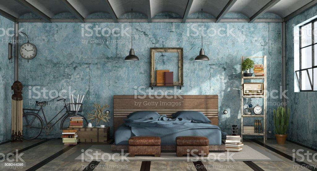 Grunge master bedroom in industrial style - foto stock