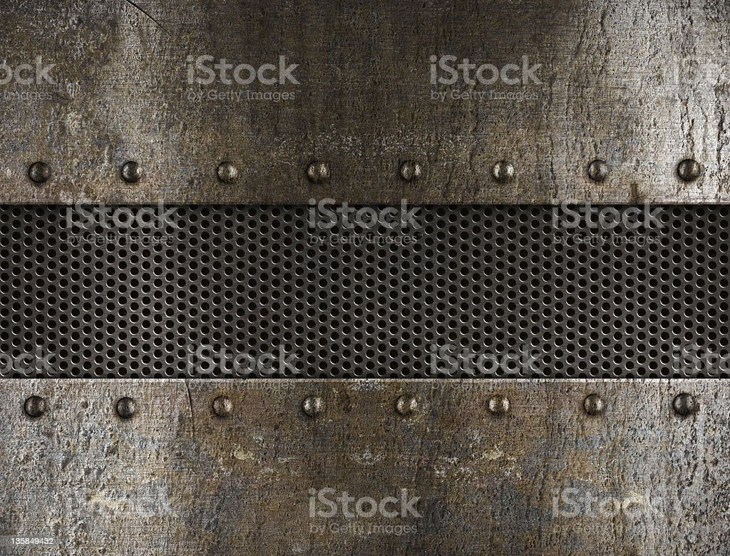 grunge metal background with rivets stock photo