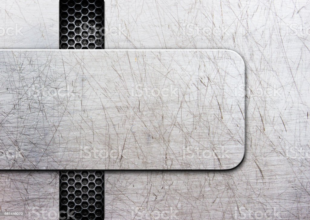 Grunge metal background with shiny metal plate. illustration; 3D royalty-free stock photo