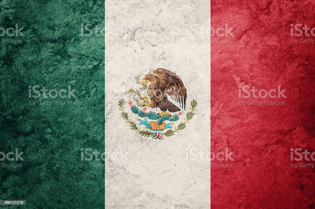 Grunge Mexico flag. Mexican flag with grunge texture. stock photo