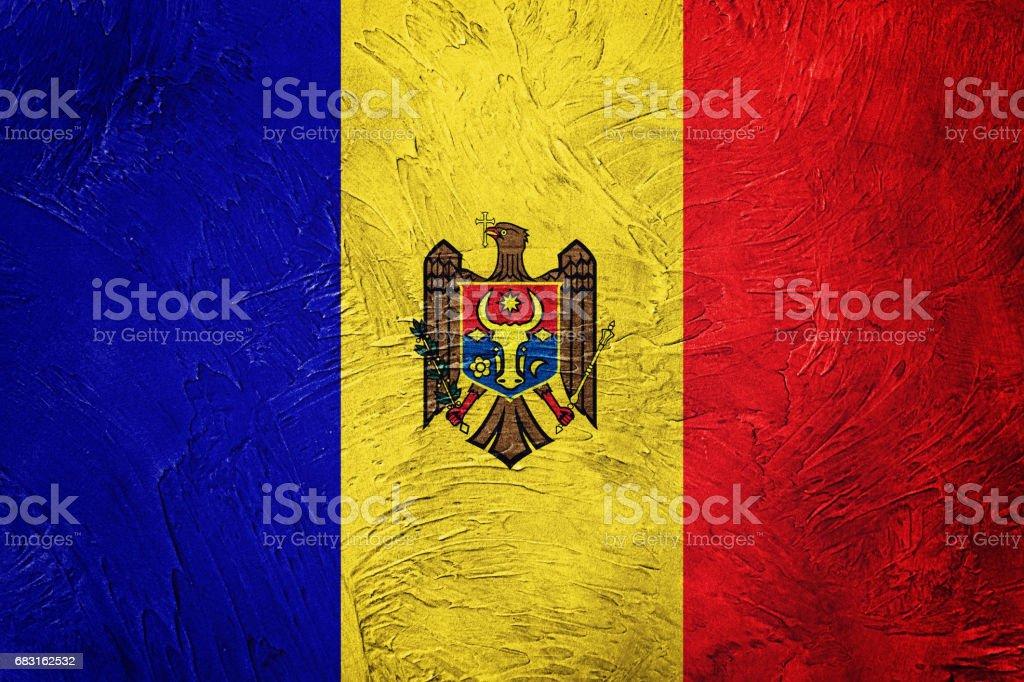 Grunge Moldova flag. Moldova flag with grunge texture. 免版稅 stock photo