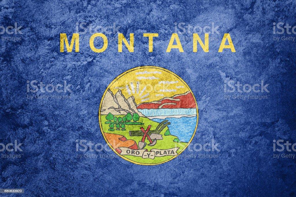 Bandeira de estado de Montana grunge. Bandeira de Montana fundo textura grunge. - foto de acervo