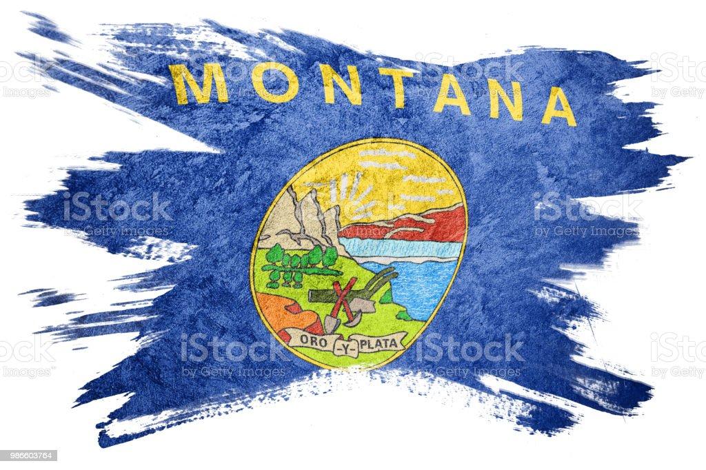 Bandeira de estado de Montana grunge. Bandeira de Montana escova derrame. - foto de acervo