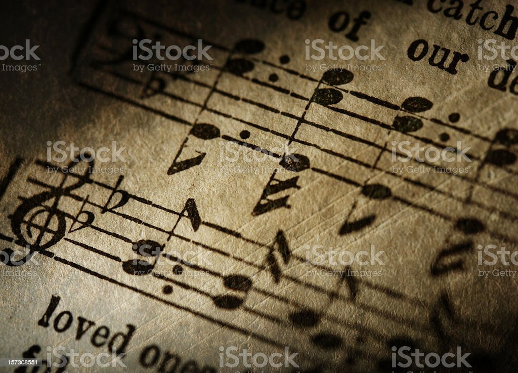 Grunge Music Notes Close-Up stock photo