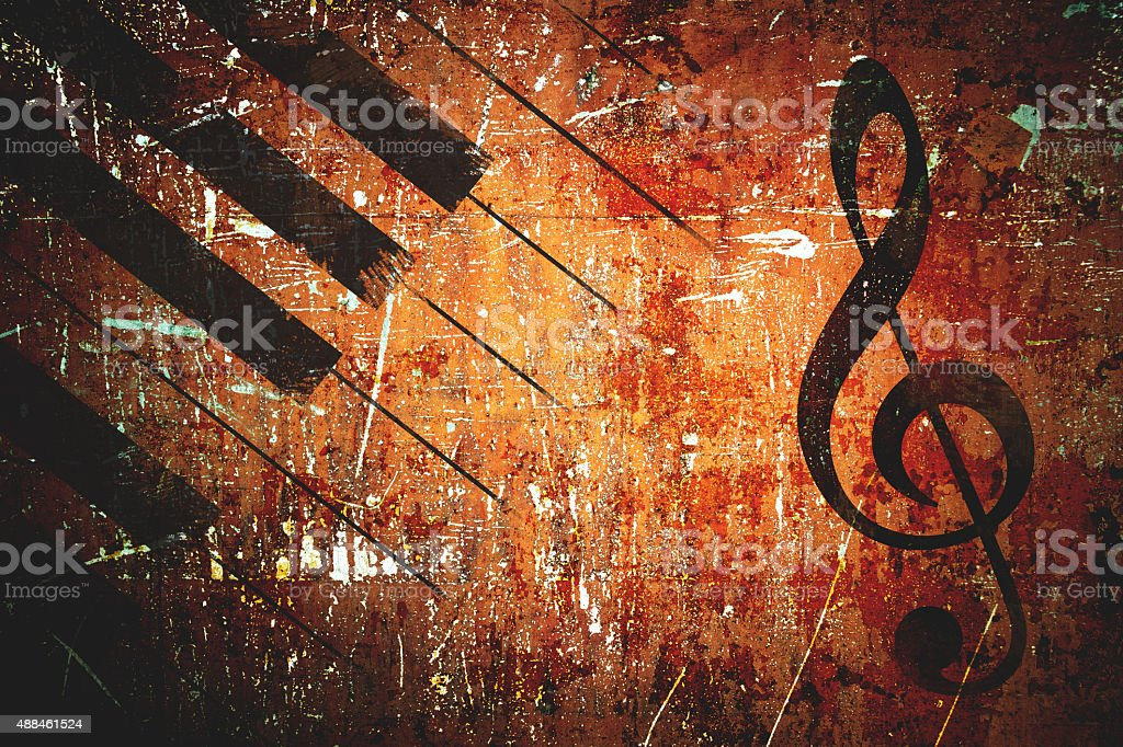 Grunge music pattern background stock photo